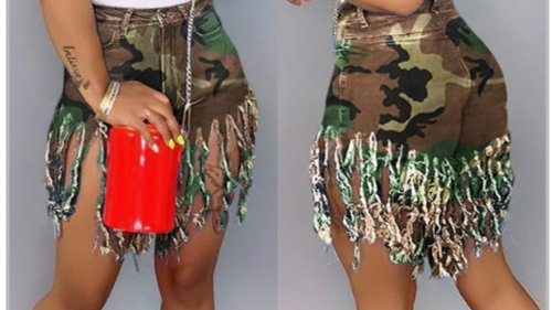 Camouflage Tassel shorts