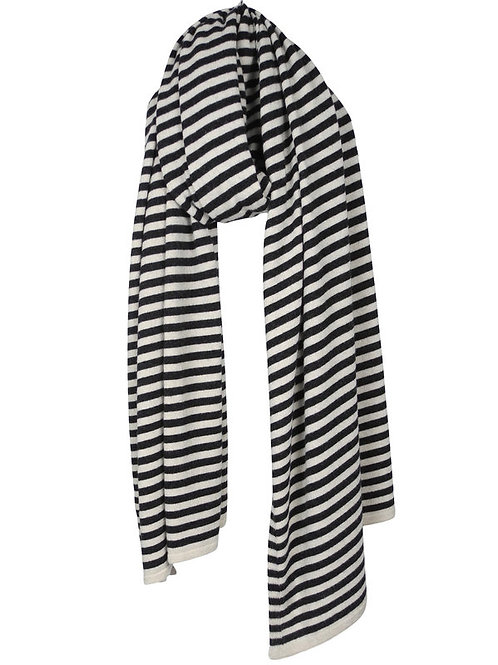 SjaalMania Cosy Chic Stripes Black Melee & Light Sand