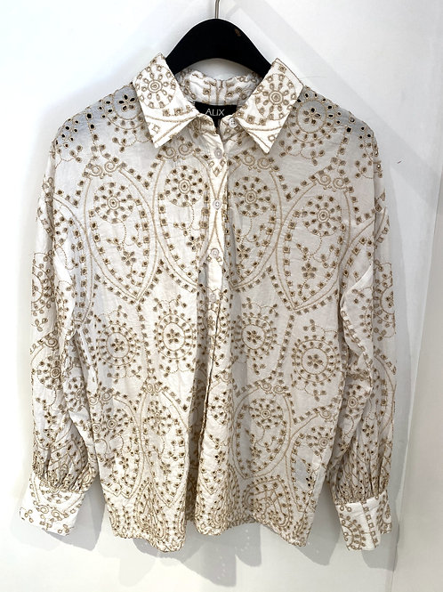 ALIX THE LABEL Woven broderie blouse