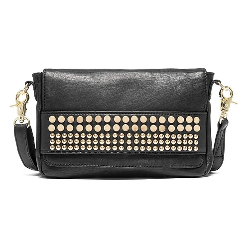 Depeche leather clutch with studs