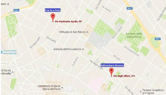 מפה חדרי בריחה פירנצה