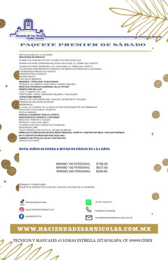 PAQUETE PREMIER DE SABADO