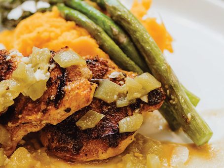 Crispy Pork Tenderloin Medallions Topped with Green Chile Sauce Served with Chipotle