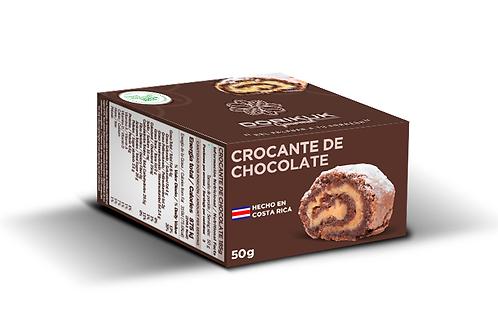 Crocante de chocolate, porción. Peso: 50 g. Largo: 2 cm