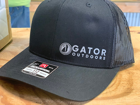 Blacked out Gator Hat with Grey Horizontal logo