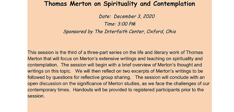 Merton on Spirituality and Contemplation