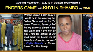 Enders Game In Theaters November, 1st! Congratulations Khylin!