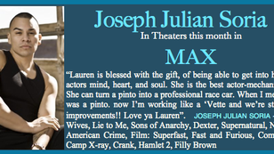 A-MAX-ING news! Film out for Joseph Julian Soria this month!