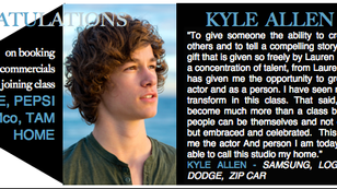 Kyle has booked NINE commercials since joining class at LPN Studios!