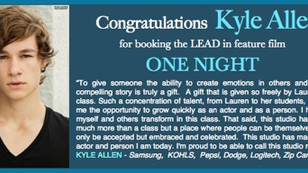 KYLE ALLEN books lead in feature film ONE NIGHT!!!!