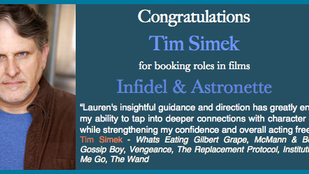 Tim booked not one, but TWO, films!