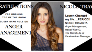 Congratulations to NICOLE TRAVOLTA for booking Anger Management!