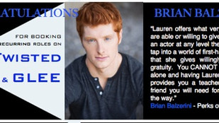 BRIAN BALZERINI books TWO recurring roles on GLEE & TWISTED!!!!!