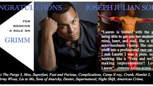 This news isn't GRIMM..congrats, Joseph Julian Soria!