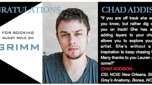It's a GRIMM day for Chad Addison--congrats on the guest star booking!!