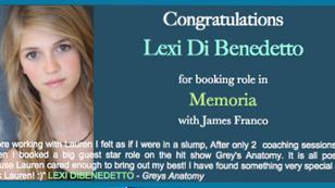 Congrats LEXI for booking MEMORIA!