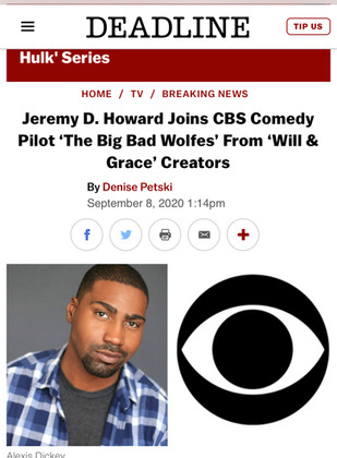 """JEREMY HOWARD Joins CBS Comedy Pilot """"The Big Bad Wolfes""""!"""