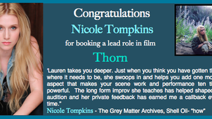 """Nicole booked a lead role in """"Thorn""""!"""