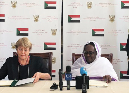 """Bachelet signs """"milestone agreement"""" to open UN Human Rights Office in Sudan"""