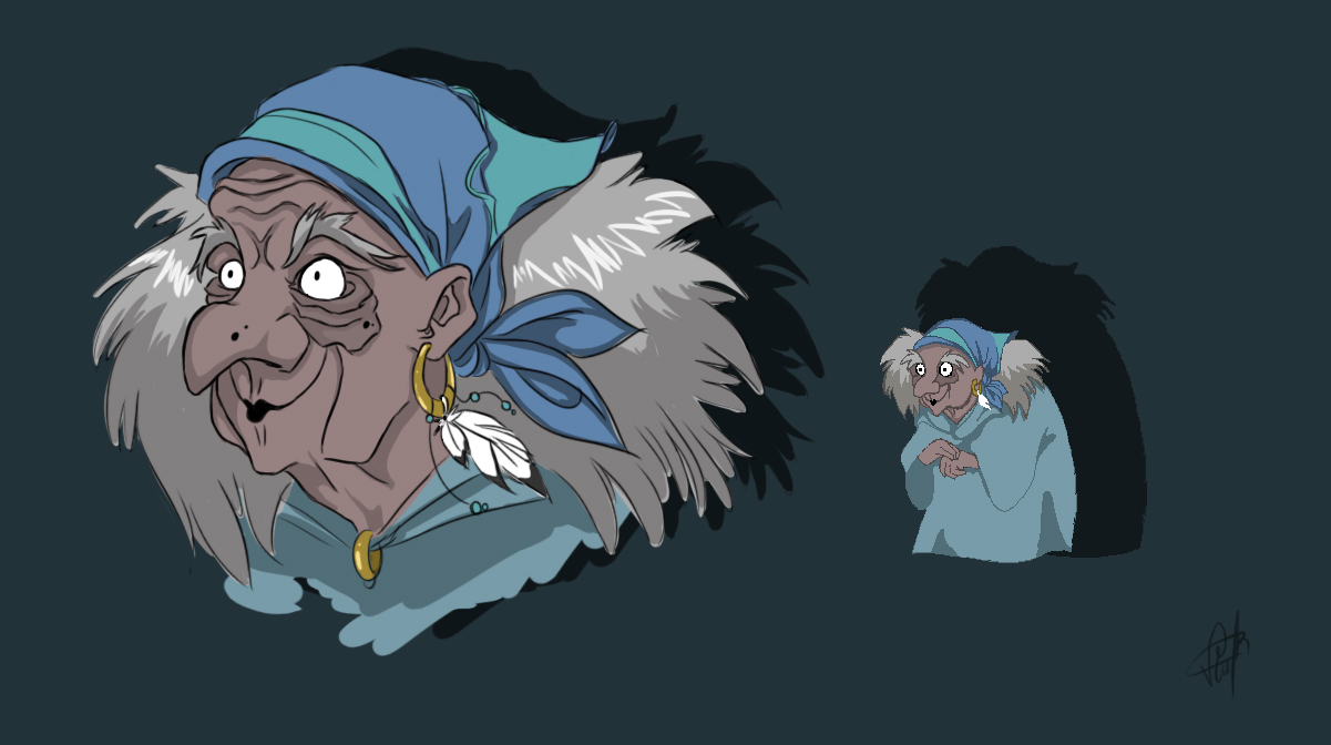 Old Lady with pixel concept