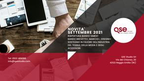 Novità Finanziamenti/Bandi per le aziende Settembre 2021