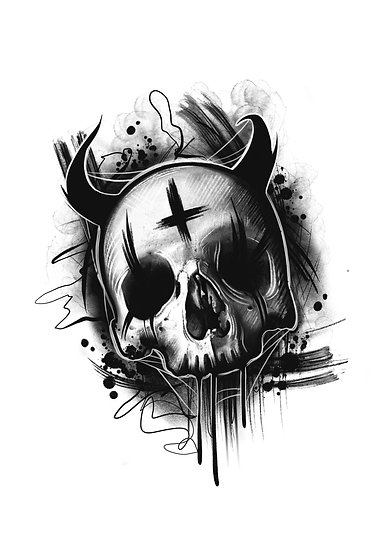 Devil Skull A4 Print
