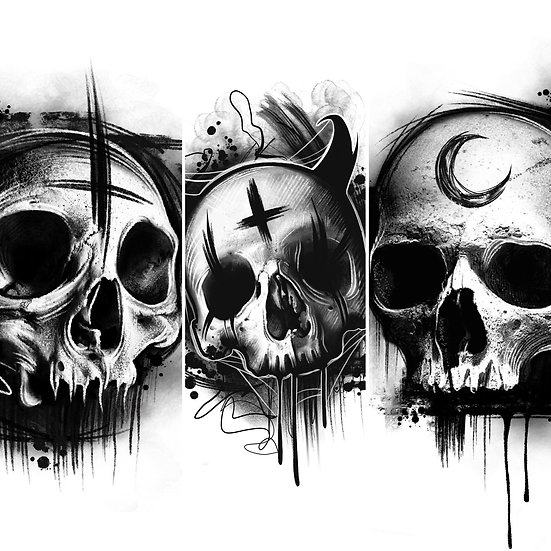 Set Of 3 Skull Prints