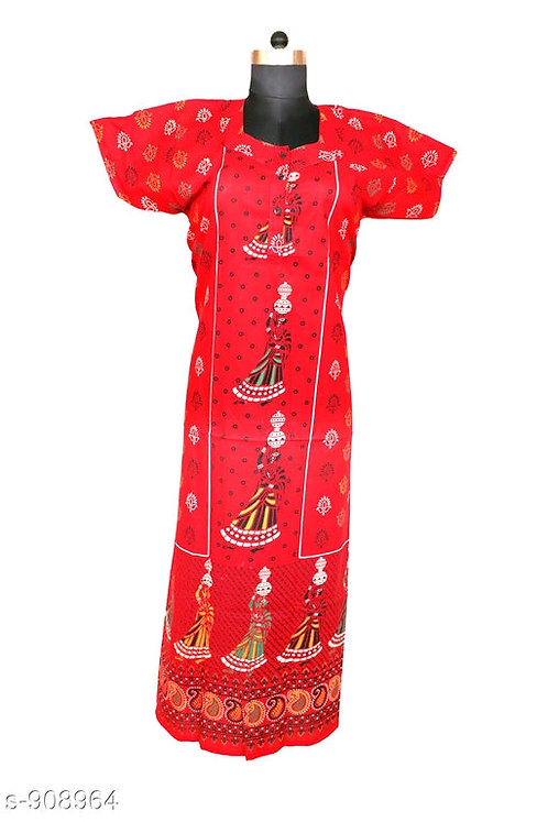 Jaipuri Cotton Nighty - Red