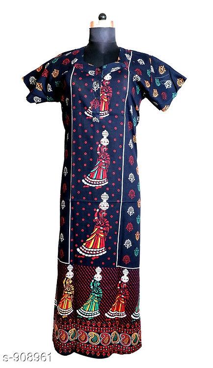 Jaipuri Cotton Nighty - Black