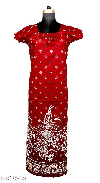 Jaipuri Cotton Nighty - Plain red