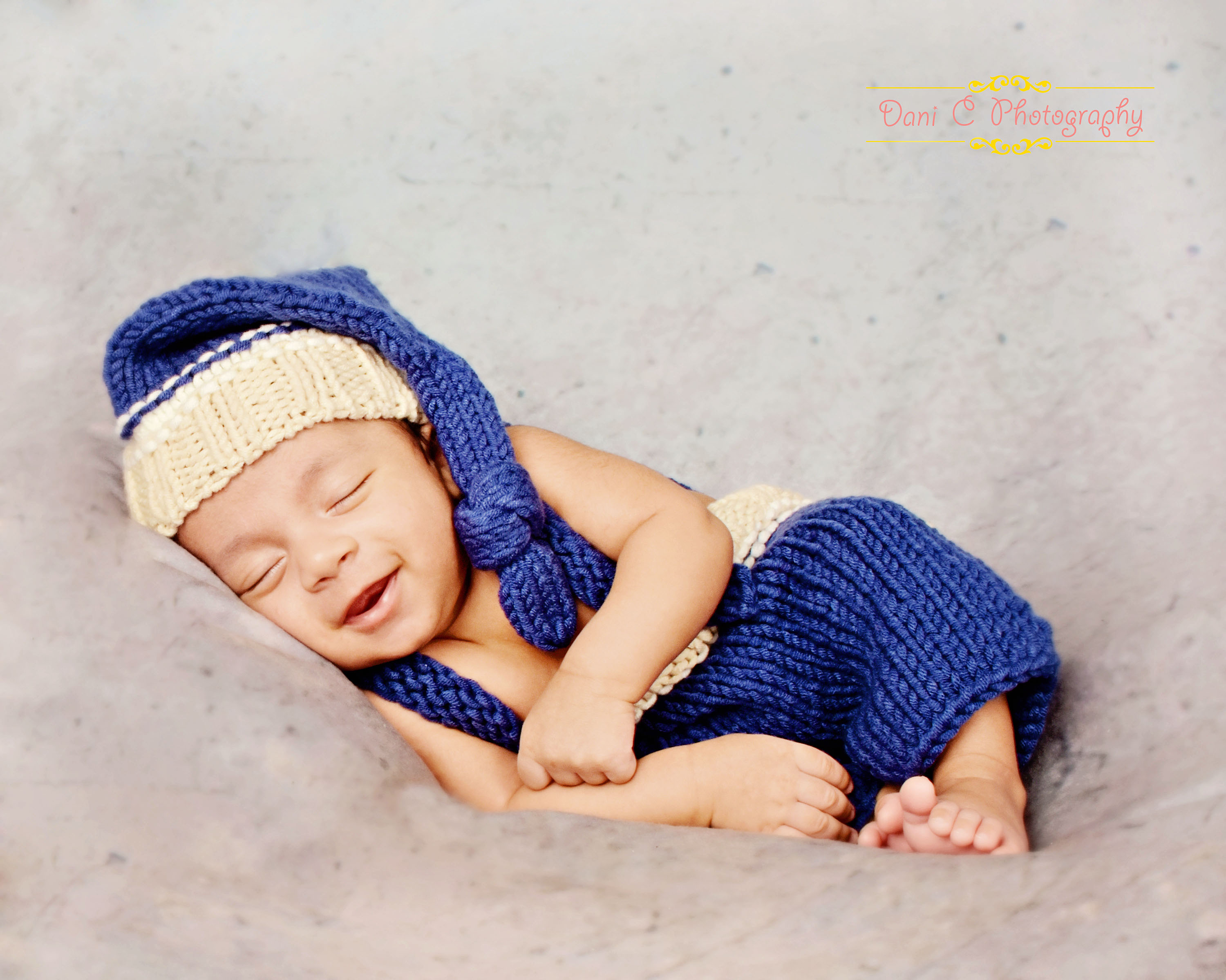 newborn blue & tan outfit