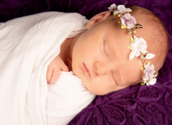 lilac and white flower headband