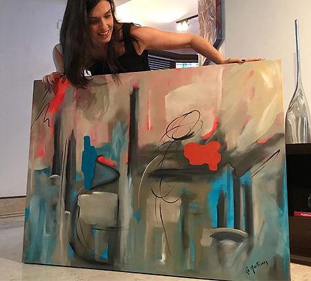pintura abstrata em oleo sobre tela