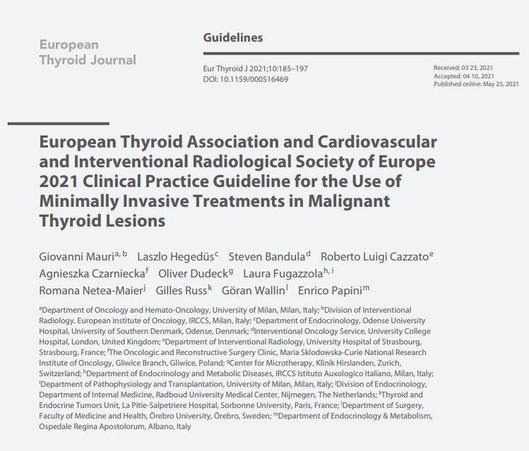 ETA guidelien for malignant thyroid lesi