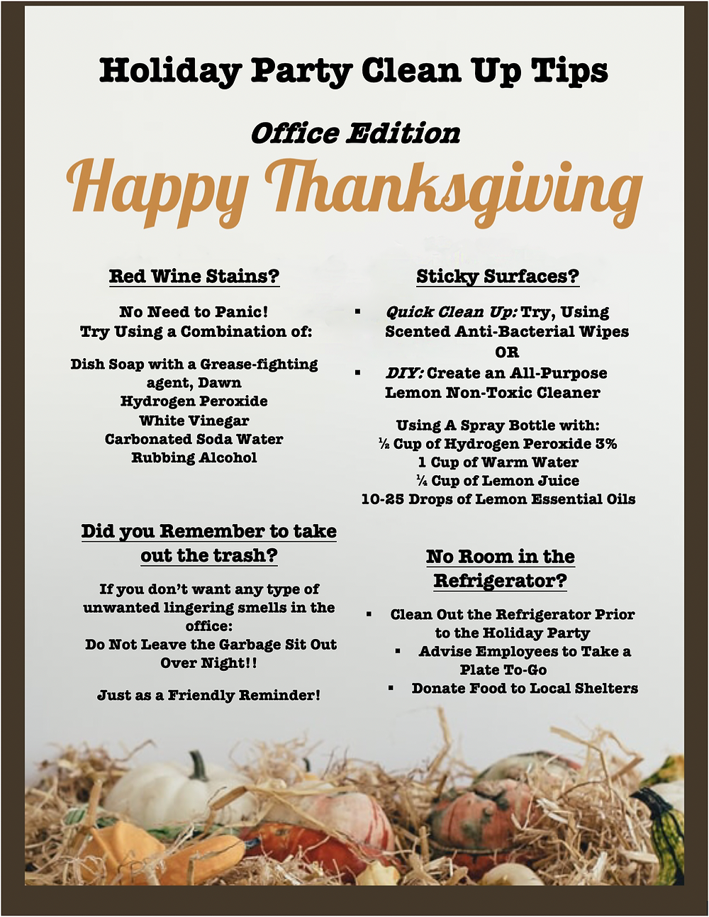 Office Party Cleaning Tips