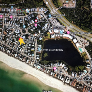 Overview showing Still Waters 2 houses from beach walkover