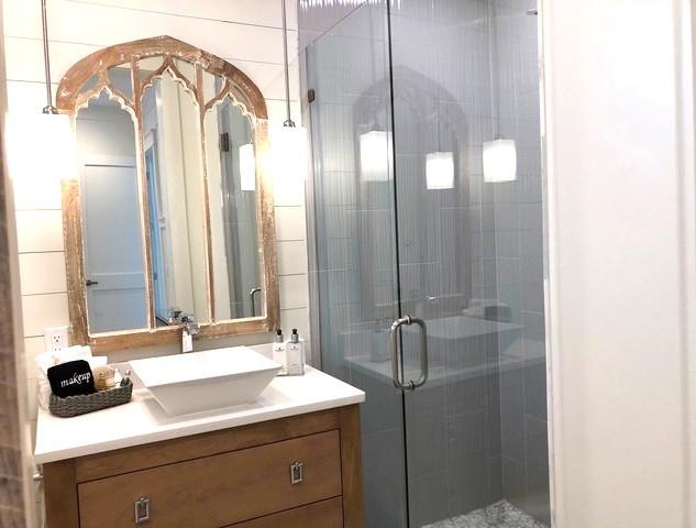 Designer tiled downstairs full bathroom