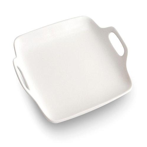 瑞典【GREEGREEN】雙耳方型陶瓷餐盤 11吋(白色)
