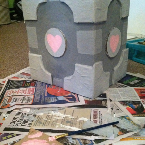 Portal Cube Paper-mache