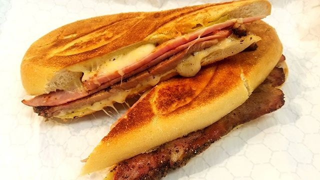 Classic Cuban Sandwich😀👌💯 _thick slices of roasted pork, ham, Swiss, yellow mustard, pickles all