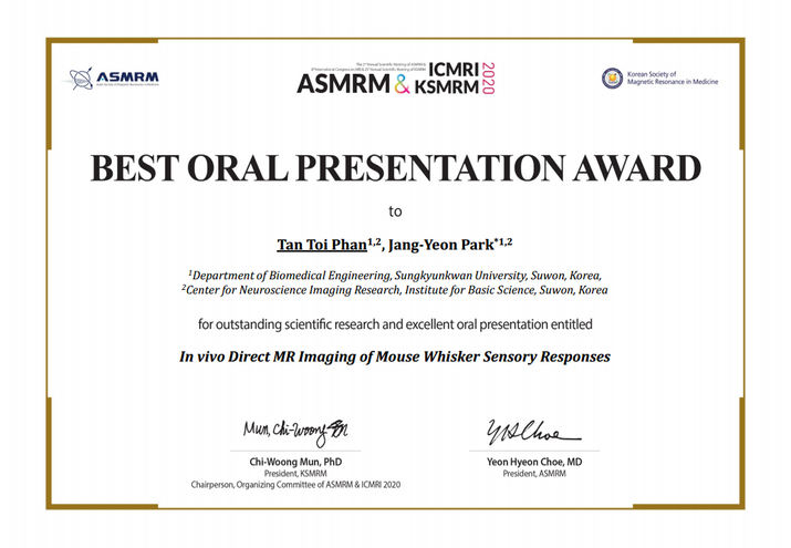 Phan Tan Toi Best Oral Presentation Award