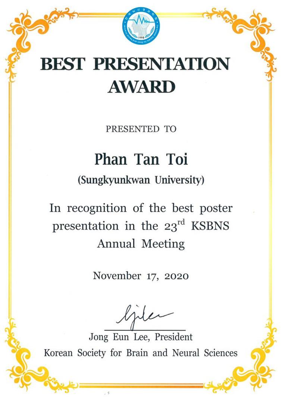 Best Presentation Award at KSBNS 2020