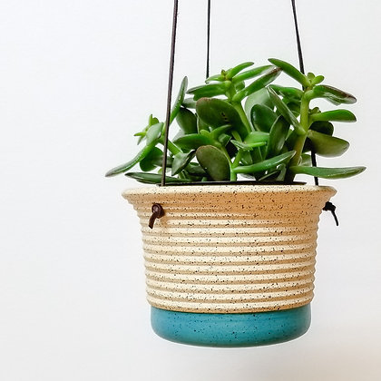 Hanging Plant Pot: Small Turquoise
