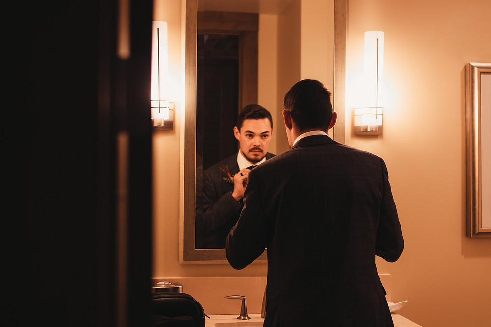 Groom Getting Ready - Intimate Wedding in Avon, Colorado