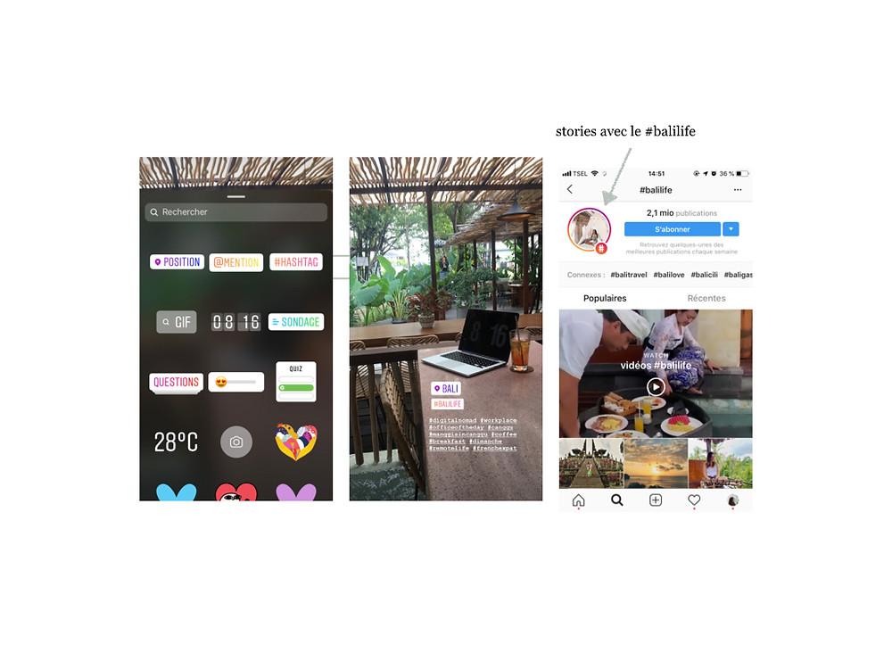 Instagram stories : hashtags et géolocalisation