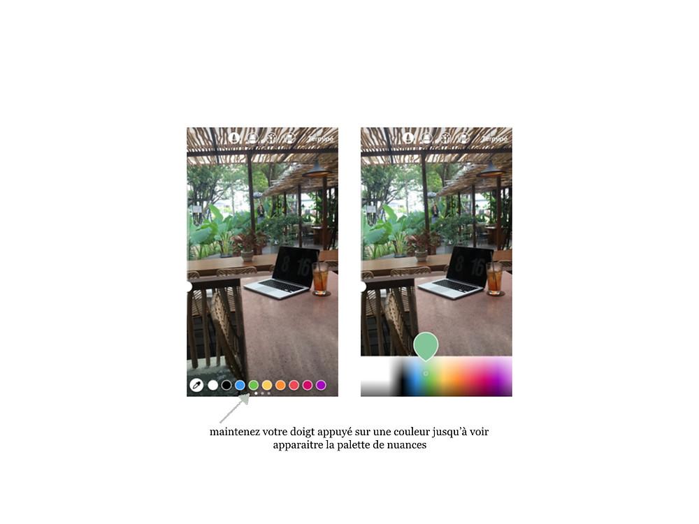 Instagram stories : couleur d'écriture