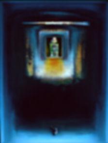 """""""Twilight Studio II"""", 24"""" x 18"""" x 3"""", shadowbox, mixed-media oil pastel assemblage"""