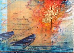 """Navigating the Creative Encounter"", NSJ, 5"" x 7"" x 1 1/2"", mixed-media encaustic painting"
