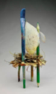 """Begin Again - Spring"", Seat of the Soul, 7"" x 3.5"" x 3"", back, mixed-media assemblage, Private Collection"
