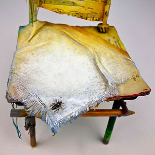 """Chair of BEE-ing"", Seat of the Soul, 14 1/2"" x  5"" x 5"", Close Up, mixed-media assemblage"
